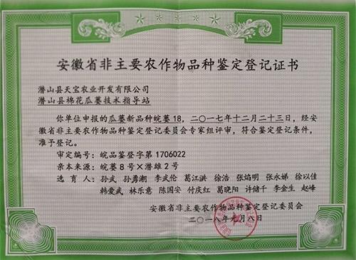 皖蒌18号鉴定登记证书